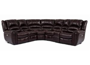 Cheers Triple Recliner Leather Sectional with Power Recline and Power Headrest