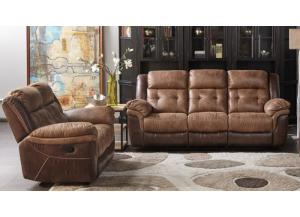 Cheers Two Tone Reclining Sofa and Love Seat